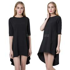 Womens Round Neck Zipper Closure Fold Irregular Swallowtail Hem Mini Dress TY68