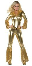 Sexy Lady Gold Sequined Jumpsuit Dancing Stripper Clubwear Fancy Dress Costume