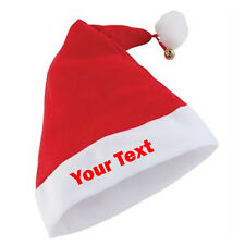 PERSONALISED PREMIUM SANTA HAT WITH BELL XMAS HAT OFFICE PARTY ONE SIZE