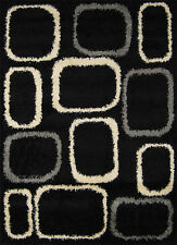 Modern Shag Black Ivory Area Rug Swirls Squares Rings Shaggy Floor Décor Carpet