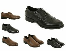 Mens Leather Formal Shoes Size 6 to 11 UK By London Shoe Co - LACE UP or SLIP ON