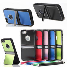 Brushed Aluminum Chrome Hard Case Cover For iPhone 5 5S 5G w/ Stylus Screen Film