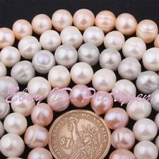 "9-10mm Natural Freeform Freshwater Pearl Gemstone Beads 15"" For Jewelry Making"
