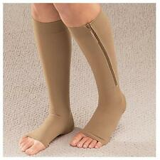 Unisex Invisible Zippered Compression Leg Support Knee Zipper Socks Sox Open Toe