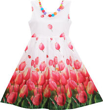 Sunny Fashion Girls Dress Tulip Flower Garden With Necklace Pink Size 4-12