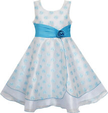 Girls Dress Wedding Gown Tulle Flower Ball With Lace Blue Size 4-12