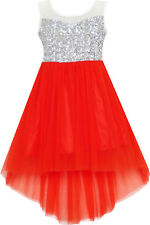 Flower Girl Dress Sequin Mesh Party Wedding Princess Tulle Red Size 7-14 Pageant