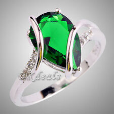 Emerald White Topaz Women Lady Gems Silver Plated Jewelry Ring Size 7 8 Gift