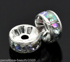 Wholesale HX SP Acrylic Clear AB Color Rhinestone Rondelle Spacers Beads 8mm