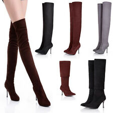 Womens Shoes High Heels Pointy Tight Toe Faux Suede Zipper Knee High Boots Plus