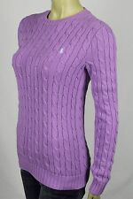 Ralph Lauren Purple Cable Knit Crewneck Sweater Blue Pony NWT