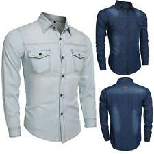 Stylish Men's Casual Button Denim Shirts Slim Fit Jeans Shirt Casual Tops Plus