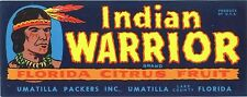 CRATE LABEL VINTAGE FLORIDA INDIAN WARRIOR UMATILLA 1940S COMIC BOOK LETTERING