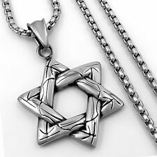 Men's Women's Silver Star 316L Stainless Steel Pendant w/ 3mm Round Box Necklace