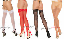Plus Size Sheer BACK SEAM STOCKINGS Lace top NYLON for use with Garters QUEEN