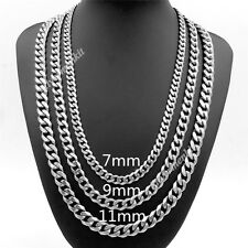 7/9/11mm Men Boy Fashion Chain Stainless Steel Silver Curb Link Necklace 16-38""