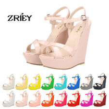 ZriEy Ladies High Heels Platform Ankle Strappy Wedge Patent Leather Sandal Shoes