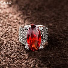 Fashion Big Red Swarovski Crystal Cocktail Ring 18k White Gold Plated Jewelry