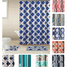 Geometic Helix Swirls Shower Curtain with Hooks Bathroom Rug Set 15 Piece Set
