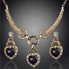 Best 18k Gold Plated Austrian Crystal Earrings Necklace Jewelry Sets In 4 Color