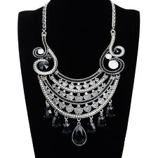 New Vintage Jewelry Shiny Crystal Resin Beauty Glass Statement Chain Necklace