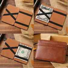 1PC Men PU Leather Magic Money Clip Slim Wallet ID Credit Card Holder Case Purse
