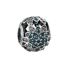 925 Sterling Silver Crystal Flower Charm Bead For European Bracelet Bangle O00A