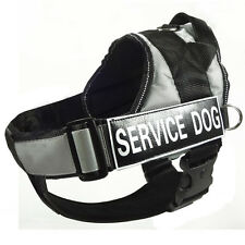 Grey Reflective Service Dog Harness Vest Removable Chest Plate & Velcro Patches