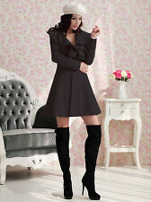 fashion women slim wool blend trench warm long coat black jacket M L XL XXL