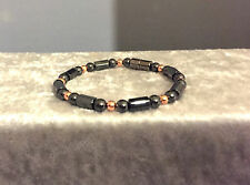 TRIPLE POWER MAGNETIC HEMATITE BRACELET WITH ROUND COPPER FOR GREAT PAIN RELIEF