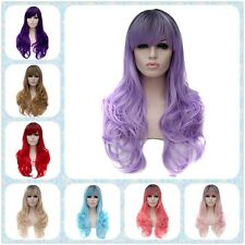 Women Curly Long Haircut Wave Cosplay Party Anime Club Costume Full Fiber Wigs