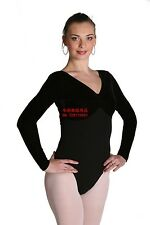 Ladies' Long Sleeve V Neck Leotard Bodysuit Gymnastics Dance Costumes C026/27