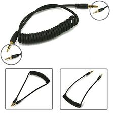 3.5mm JACK TO JACK STEREO CURLY SPIRAL COILED AUX CABLE FOR LATEST MOBILE PHONES