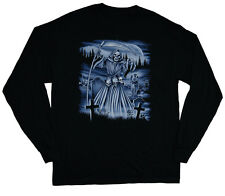 long sleeve t-shirt for men grim reaper gothic biker heavy metal tee shirt