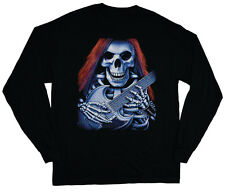 long sleeve t-shirt for men skeleton skull guitar heavy metal punk rock tee