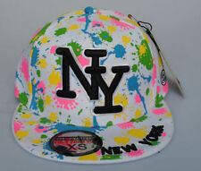 New York NY City Hunter White Paint Splash Hat Fitted Flat Peak Baseball Cap