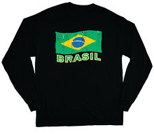 long sleeve t-shirt for men Brasil Brazilian flag Brazil tee shirt soccer sports