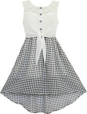 Girls Dress Lace To Chiffon Checkered Black White Tied Waist Size 7-14
