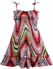 Sunny Fashion Girls Dress Smocked Halter Paisley Red Brown Size 2-10
