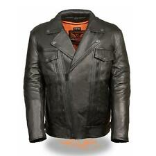 MENS PREMIUM LEATHER MOTORCYCLE BLACK JACKET w/ CONCEAL GUN POCKETS - SA64