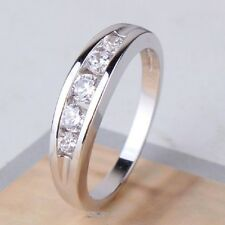 Trendy 18k White Gold Plated Simulated Diamond Engagement Ring FREE Gift Box