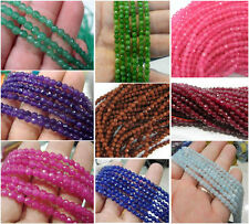 Faceted 4MM Natural Ruby Jade Agate Emerald Gemstone Loose Beads 15'' AAA