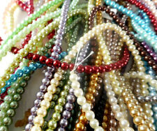 3 Strands Glass 4mm Round Pearl Beads (108 beads) You Pick Color