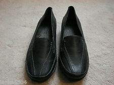 M&S Black Leather Wider Fit Footglove Low Heel Loafers shoes (NEW) size 3 or 4