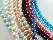 2 Strand Glass 10mm Round Pearl Beads (43 beads) You Pick Color
