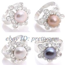 9MM NATURAL ROUND PEARL FLOWER WHITE GOLD SILVER PLATED RING ADJUSTABLE SIZE