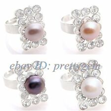 8MM ROUND NATURAL FRESHWATER PEARL RECTANGLE WHITE GOLD SILVER PLATED RING #7-9