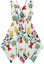 Sunny Fashion Girls Dress Floral Print Hanky Hem With Necklace Age 7-14