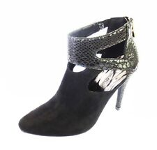 F50356- Ladies Black Heeled Ankle Boots Snake Skin Effect - Great Price!