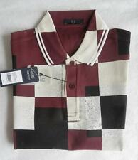 Fred Perry Placement Square Print Polo Shirt BNWT New 46 44 42 & 40 = XXL XL L M